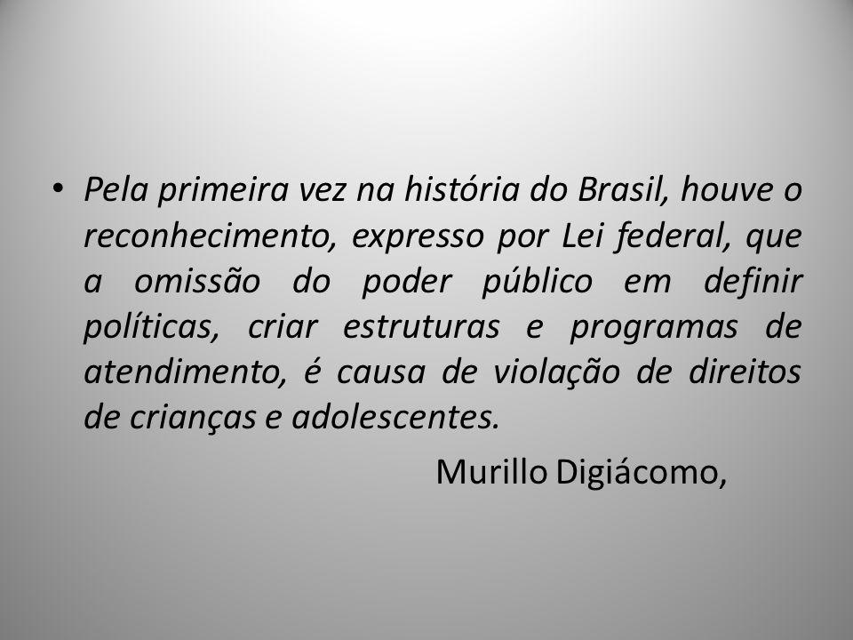 Pela primeira vez na história do Brasil, houve o reconhecimento, expresso por Lei federal, que a omissão do poder público em definir políticas, criar estruturas e programas de atendimento, é causa de violação de direitos de crianças e adolescentes.