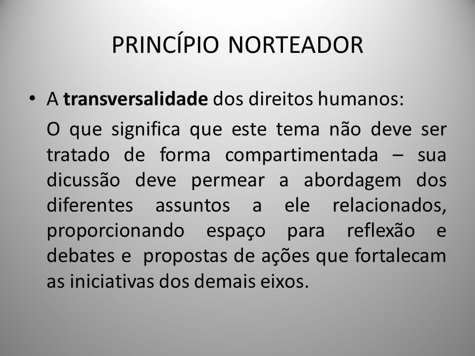 PRINCÍPIO NORTEADOR A transversalidade dos direitos humanos: