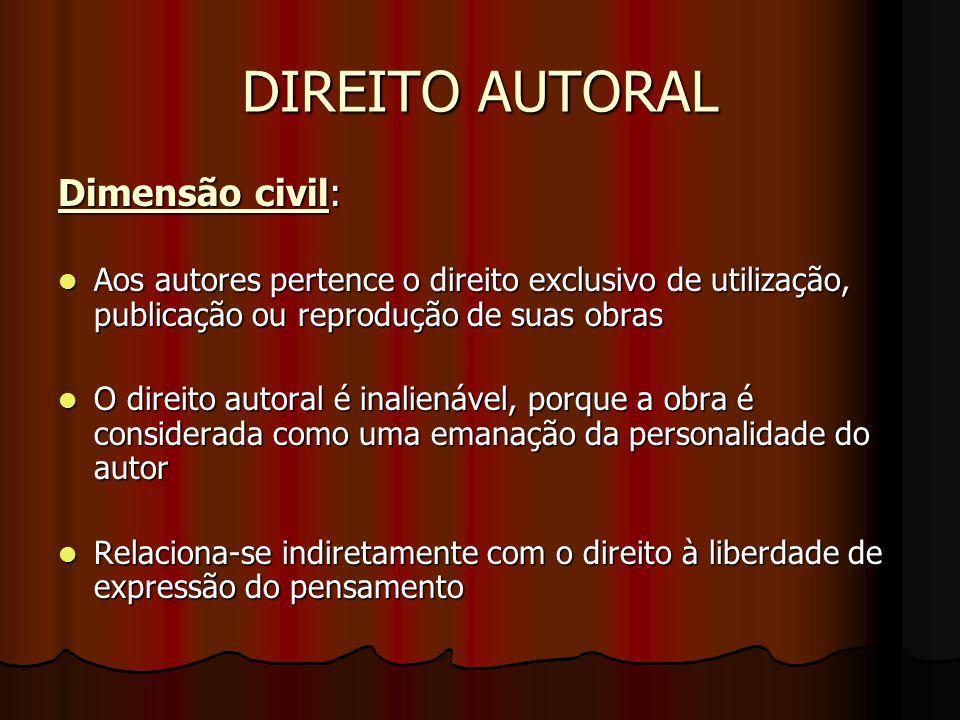 DIREITO AUTORAL Dimensão civil: