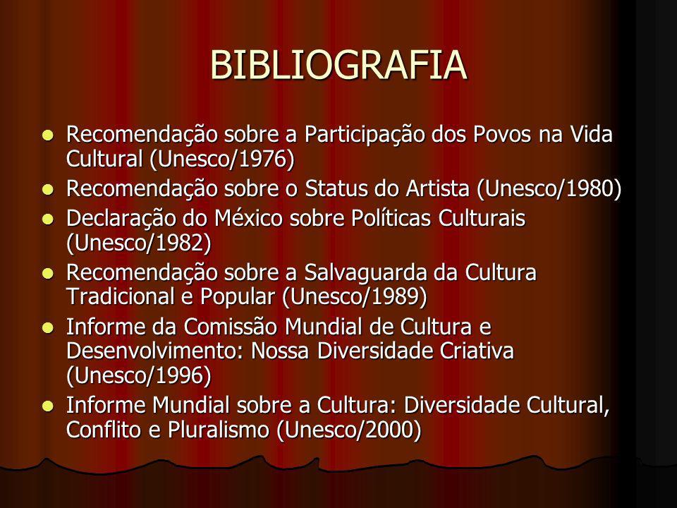 BIBLIOGRAFIA Recomendação sobre a Participação dos Povos na Vida Cultural (Unesco/1976) Recomendação sobre o Status do Artista (Unesco/1980)