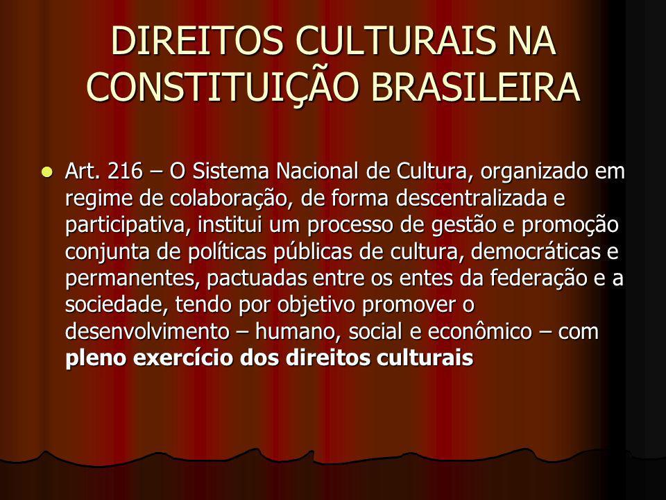 DIREITOS CULTURAIS NA CONSTITUIÇÃO BRASILEIRA