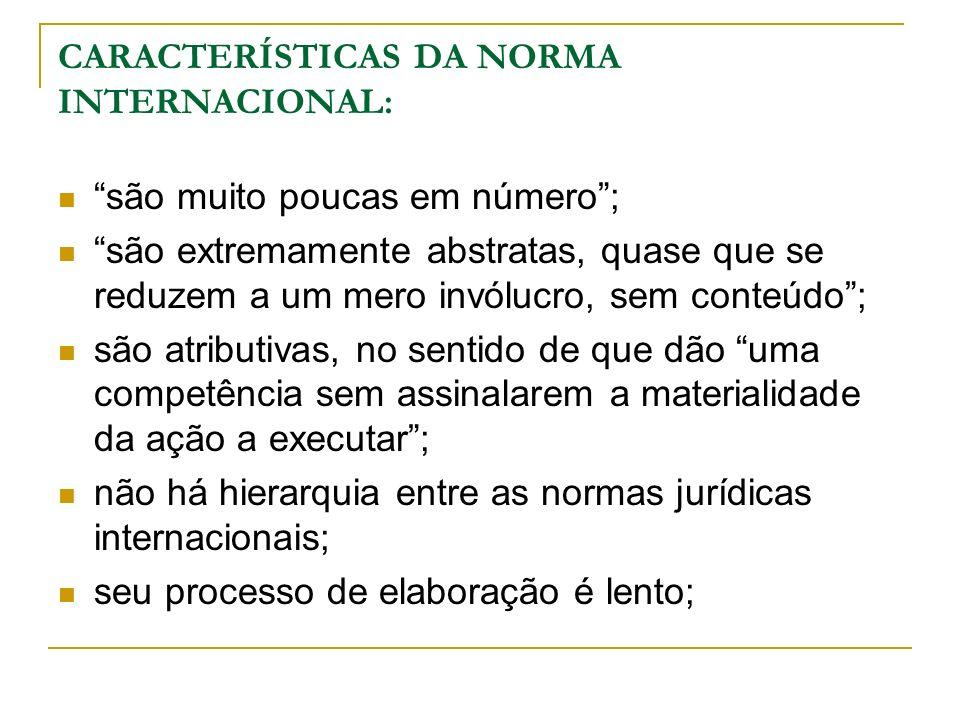 CARACTERÍSTICAS DA NORMA INTERNACIONAL: