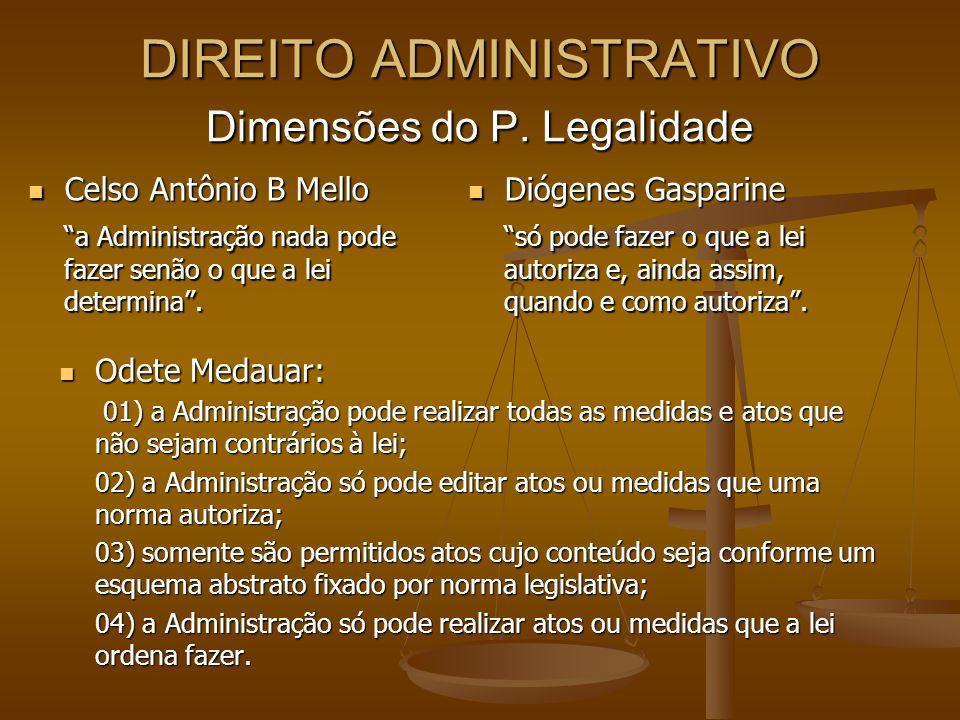 DIREITO ADMINISTRATIVO Dimensões do P. Legalidade
