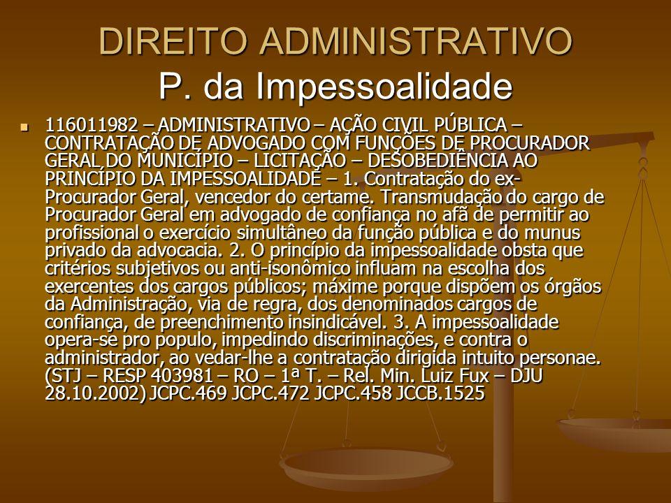 DIREITO ADMINISTRATIVO P. da Impessoalidade