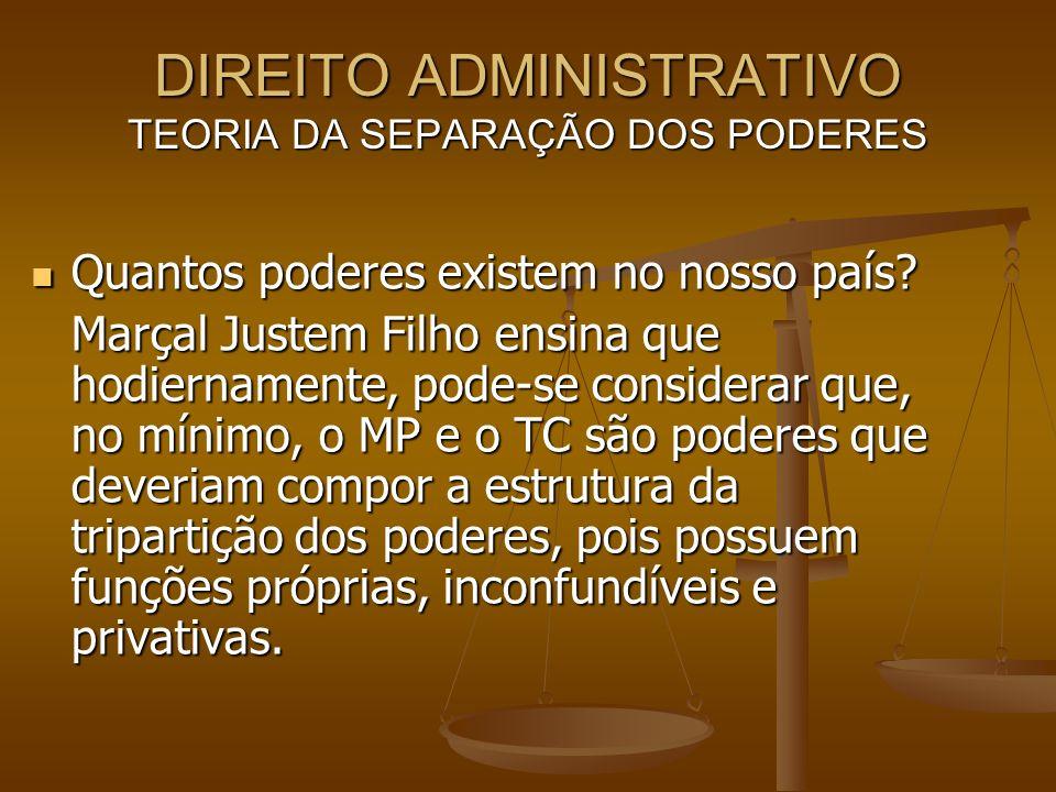 DIREITO ADMINISTRATIVO TEORIA DA SEPARAÇÃO DOS PODERES