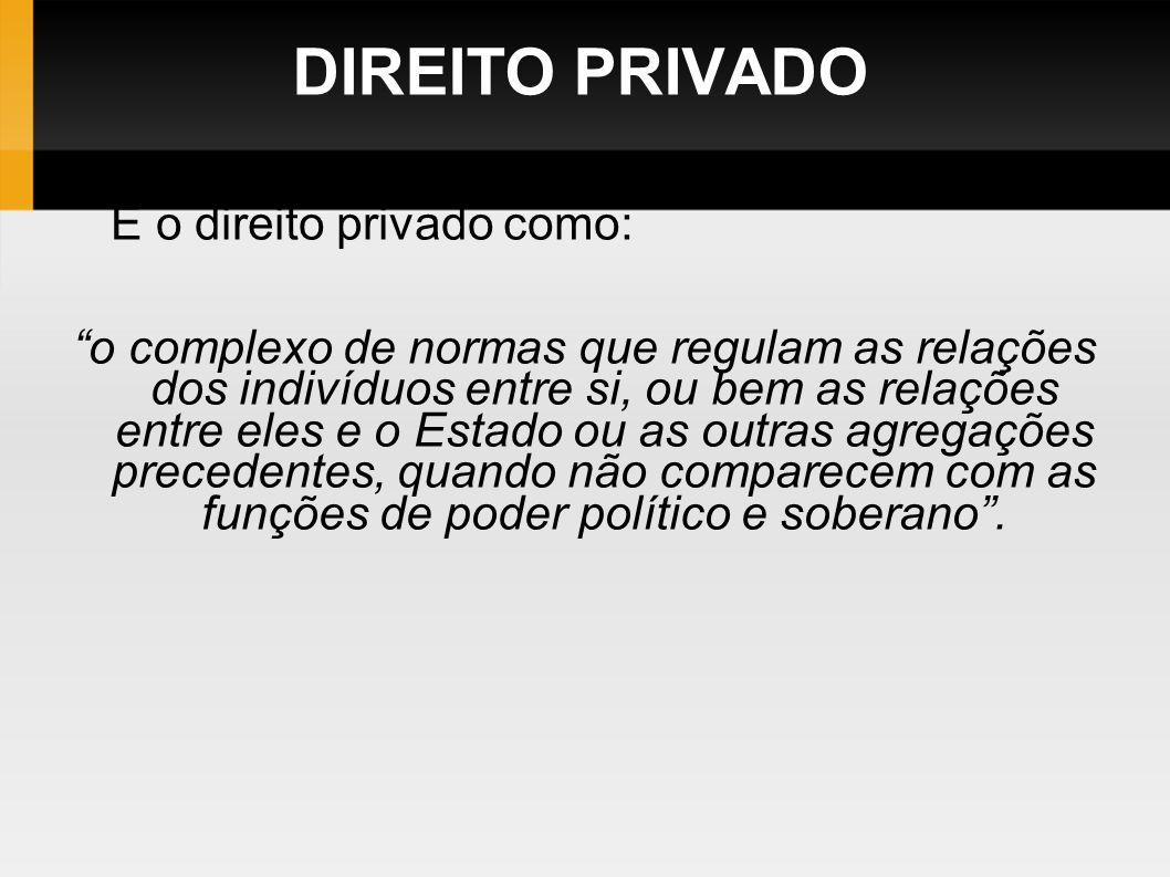 DIREITO PRIVADO E o direito privado como: