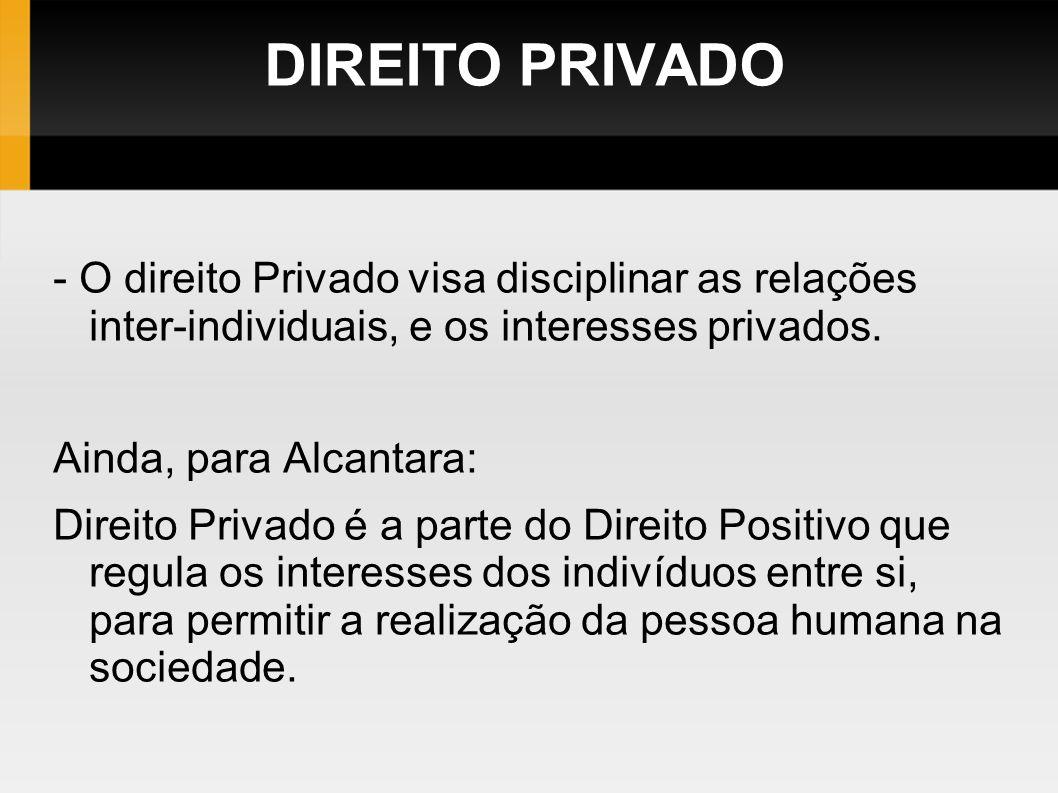 DIREITO PRIVADO - O direito Privado visa disciplinar as relações inter-individuais, e os interesses privados.