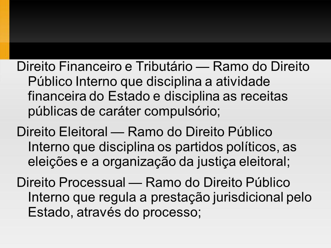 Direito Financeiro e Tributário — Ramo do Direito Público Interno que disciplina a atividade financeira do Estado e disciplina as receitas públicas de caráter compulsório;