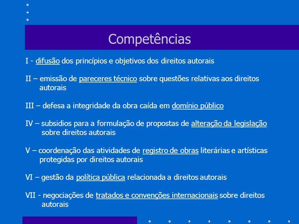 Competências I - difusão dos princípios e objetivos dos direitos autorais.