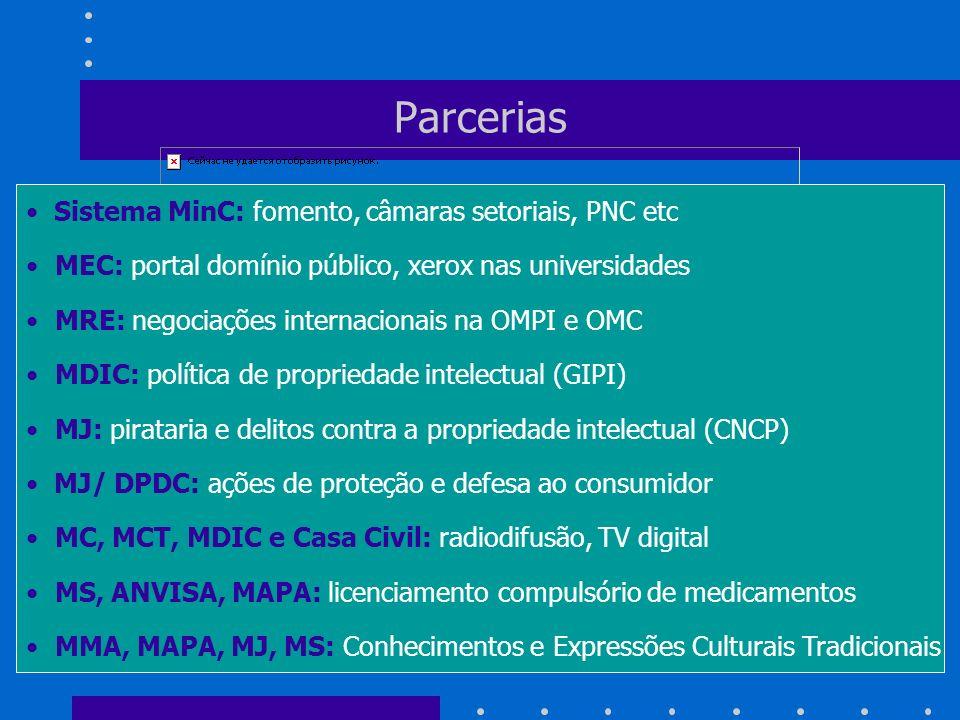 Parcerias Sistema MinC: fomento, câmaras setoriais, PNC etc