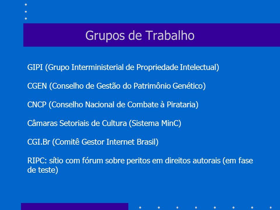 Grupos de Trabalho GIPI (Grupo Interministerial de Propriedade Intelectual) CGEN (Conselho de Gestão do Patrimônio Genético)