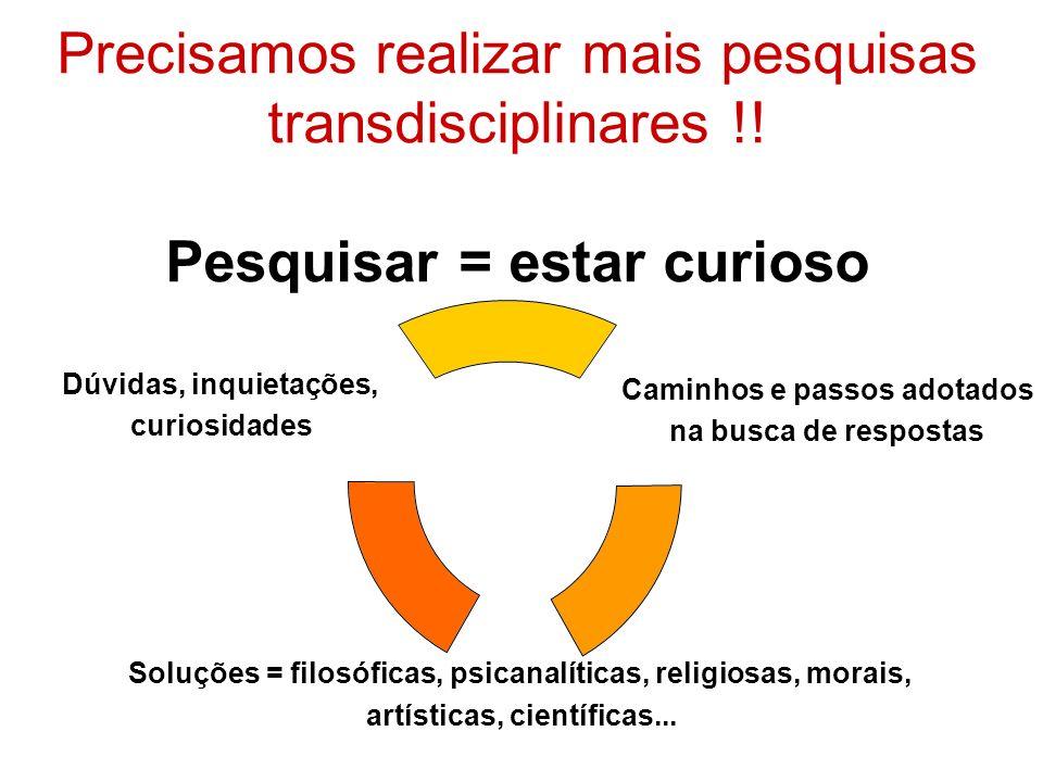 Precisamos realizar mais pesquisas transdisciplinares