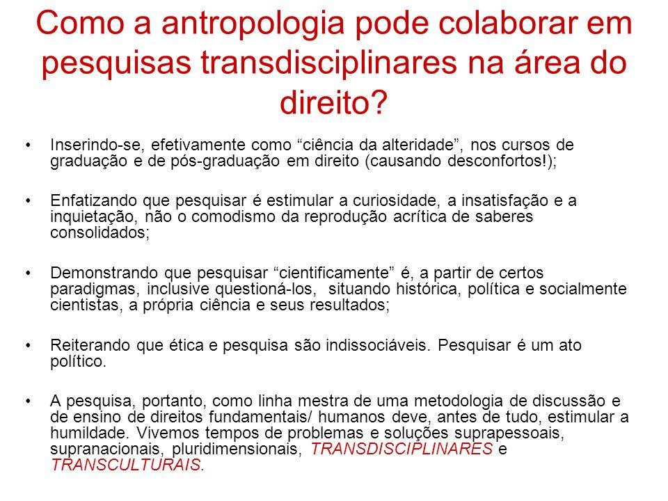 Como a antropologia pode colaborar em pesquisas transdisciplinares na área do direito