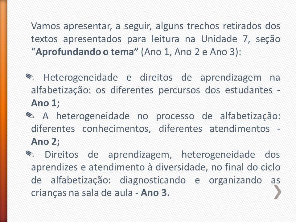 Vamos apresentar, a seguir, alguns trechos retirados dos textos apresentados para leitura na Unidade 7, seção Aprofundando o tema (Ano 1, Ano 2 e Ano 3):