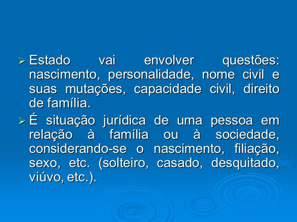 Estado vai envolver questões: nascimento, personalidade, nome civil e suas mutações, capacidade civil, direito de família.