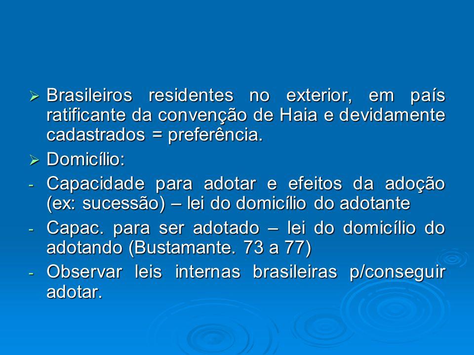 Brasileiros residentes no exterior, em país ratificante da convenção de Haia e devidamente cadastrados = preferência.