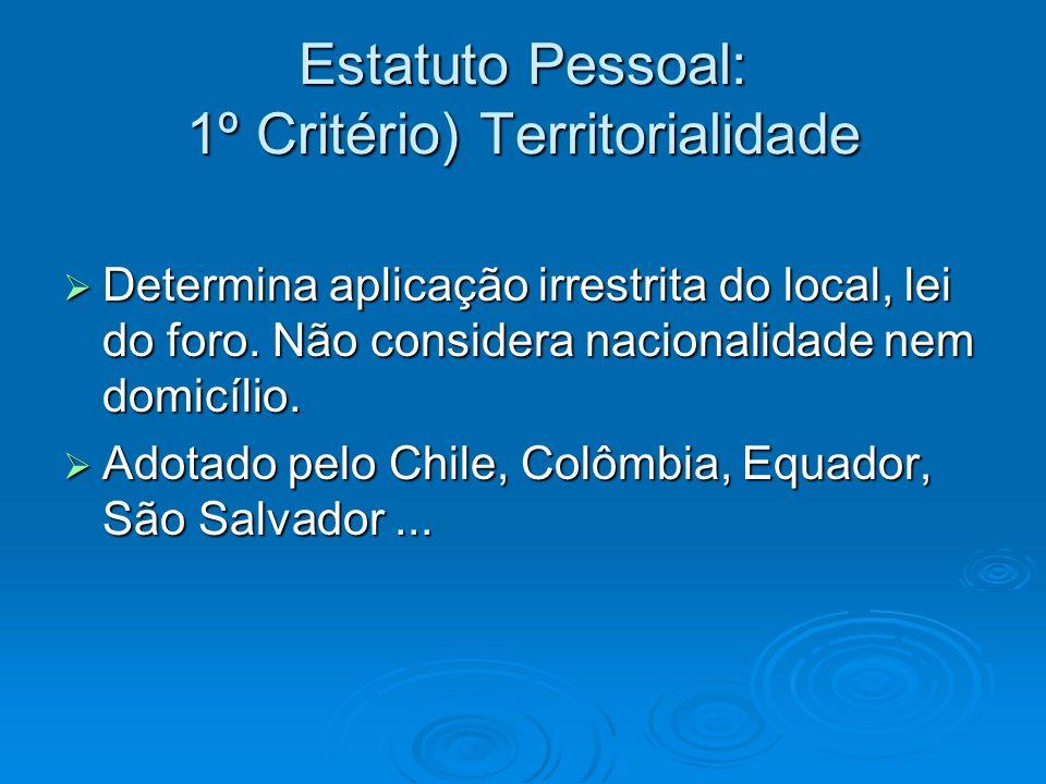 Estatuto Pessoal: 1º Critério) Territorialidade