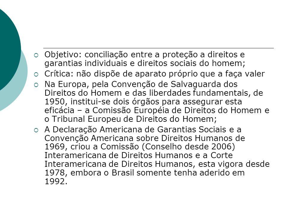 Objetivo: conciliação entre a proteção a direitos e garantias individuais e direitos sociais do homem;