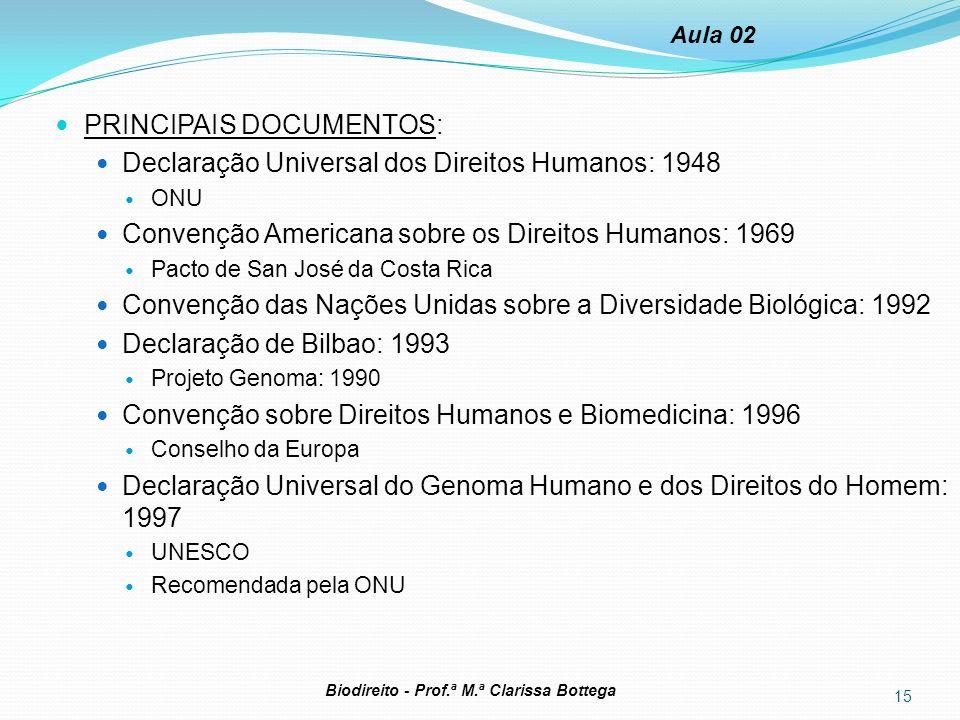 PRINCIPAIS DOCUMENTOS: Declaração Universal dos Direitos Humanos: 1948