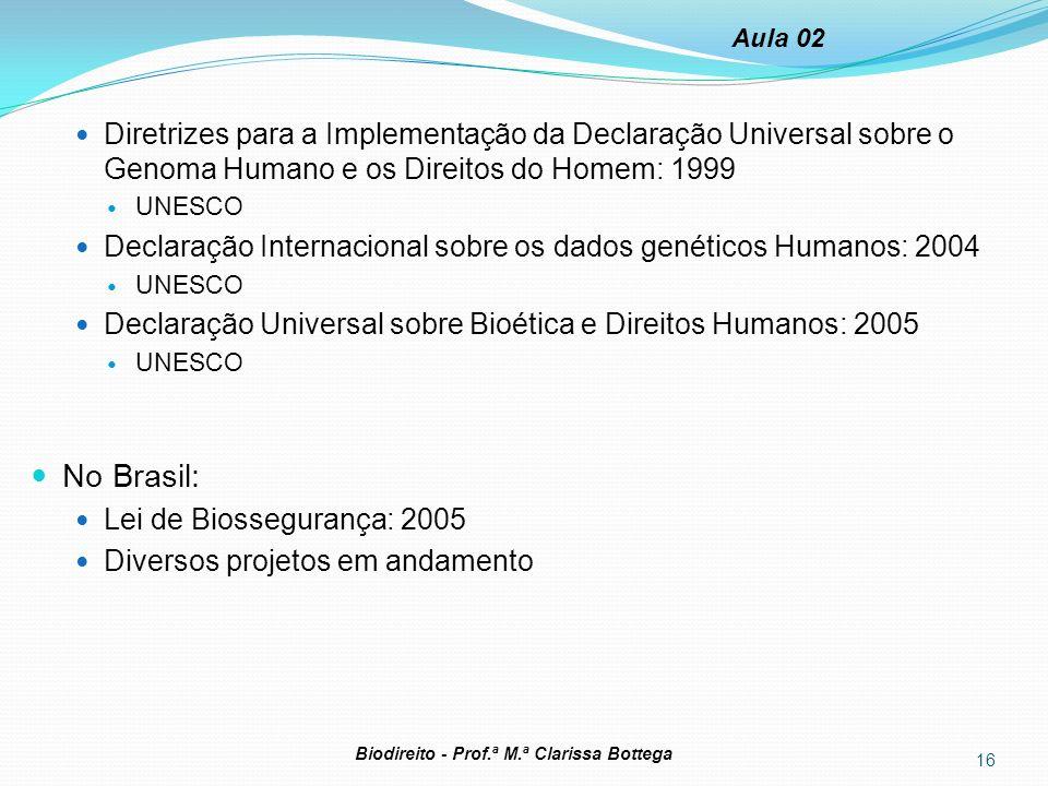 Aula 02 Diretrizes para a Implementação da Declaração Universal sobre o Genoma Humano e os Direitos do Homem: 1999.