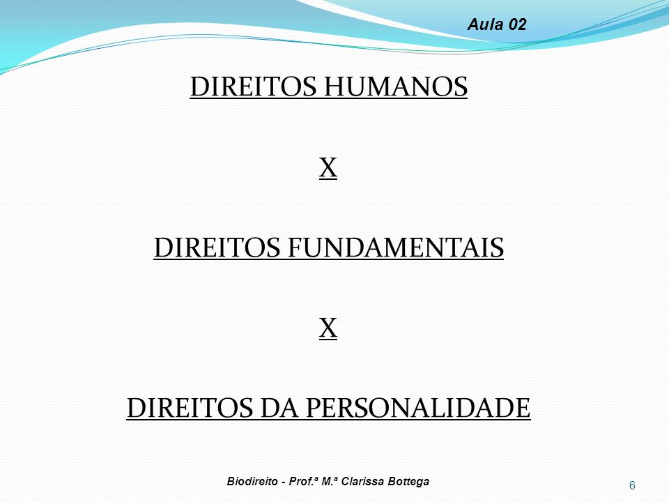 DIREITOS HUMANOS X DIREITOS FUNDAMENTAIS DIREITOS DA PERSONALIDADE