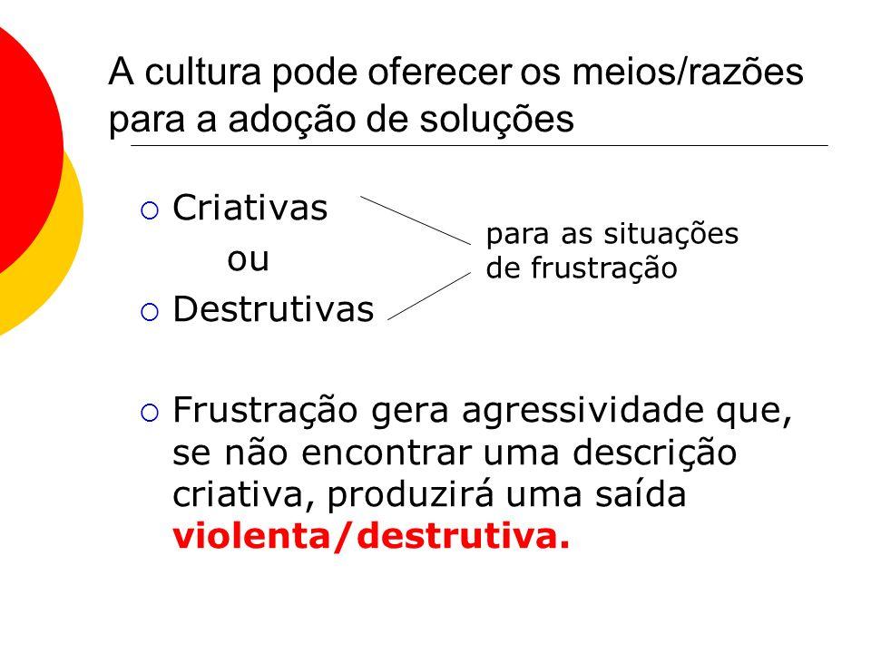 A cultura pode oferecer os meios/razões para a adoção de soluções