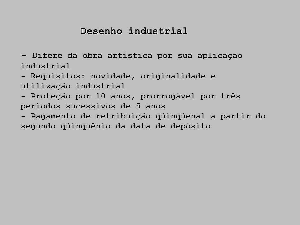 - Difere da obra artística por sua aplicação industrial