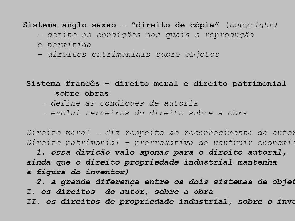 Sistema anglo-saxão – direito de cópia (copyright)