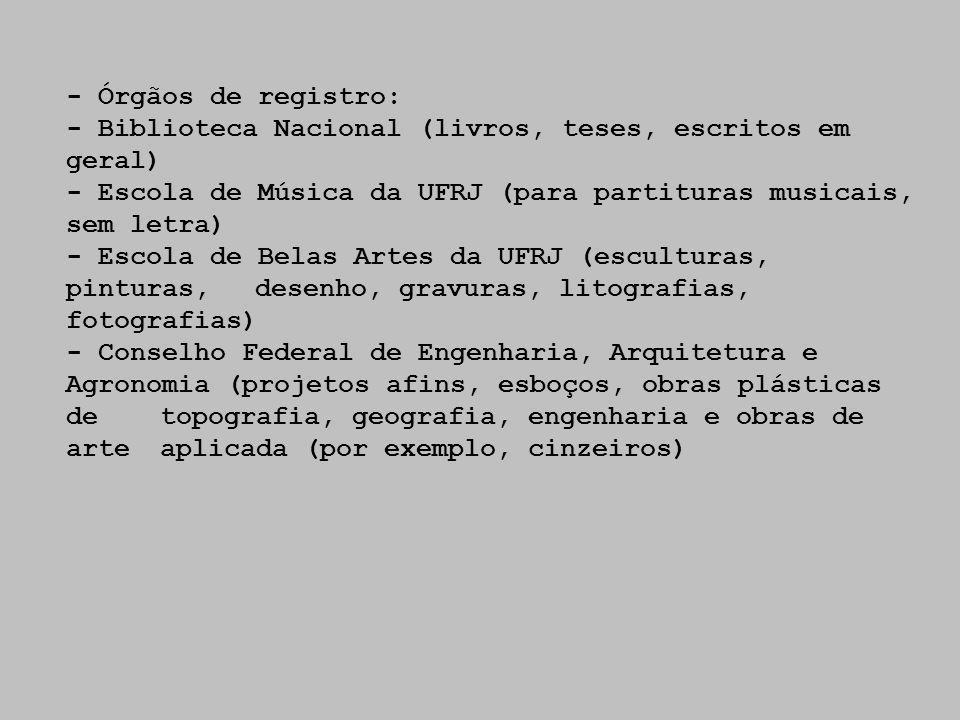 - Órgãos de registro: - Biblioteca Nacional (livros, teses, escritos em geral) - Escola de Música da UFRJ (para partituras musicais, sem letra)