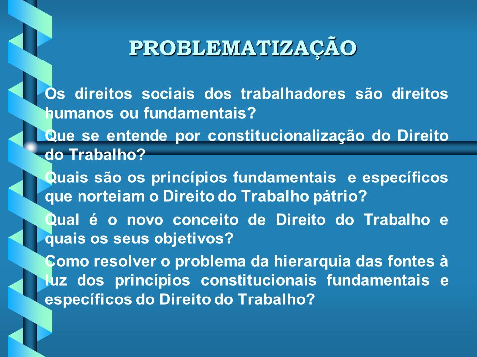 PROBLEMATIZAÇÃO Os direitos sociais dos trabalhadores são direitos humanos ou fundamentais