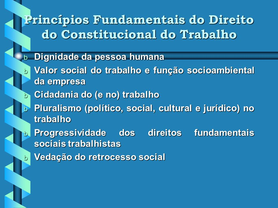 Princípios Fundamentais do Direito do Constitucional do Trabalho