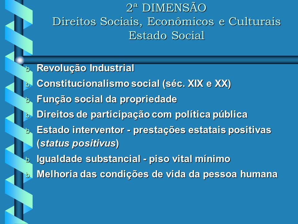 2ª DIMENSÃO Direitos Sociais, Econômicos e Culturais Estado Social