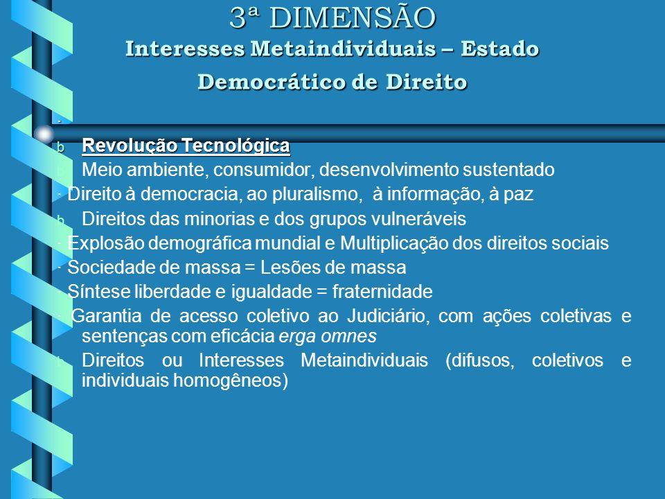 3ª DIMENSÃO Interesses Metaindividuais – Estado Democrático de Direito