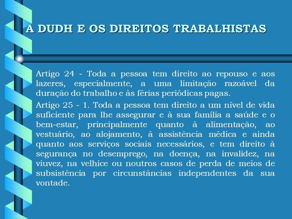 A DUDH E OS DIREITOS TRABALHISTAS