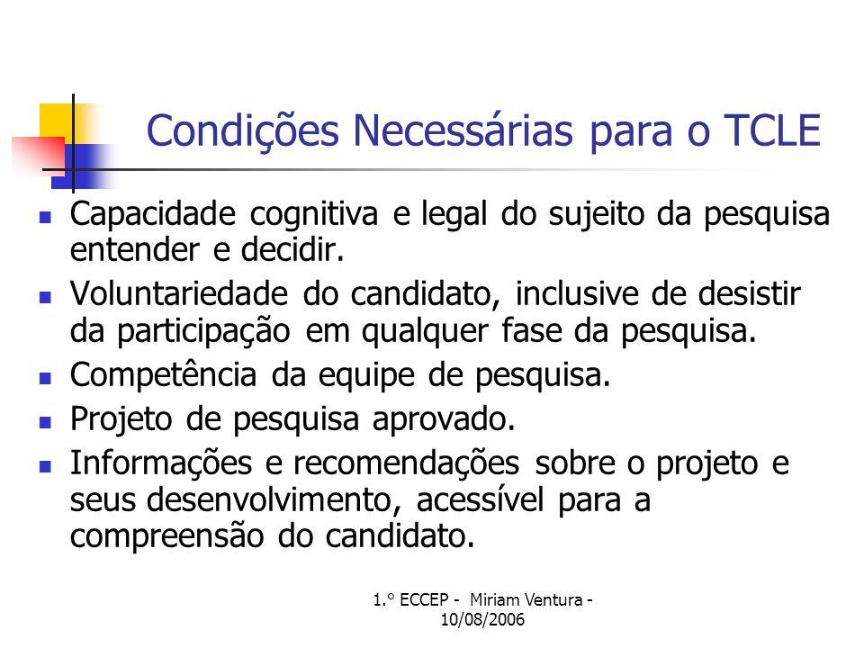 Condições Necessárias para o TCLE
