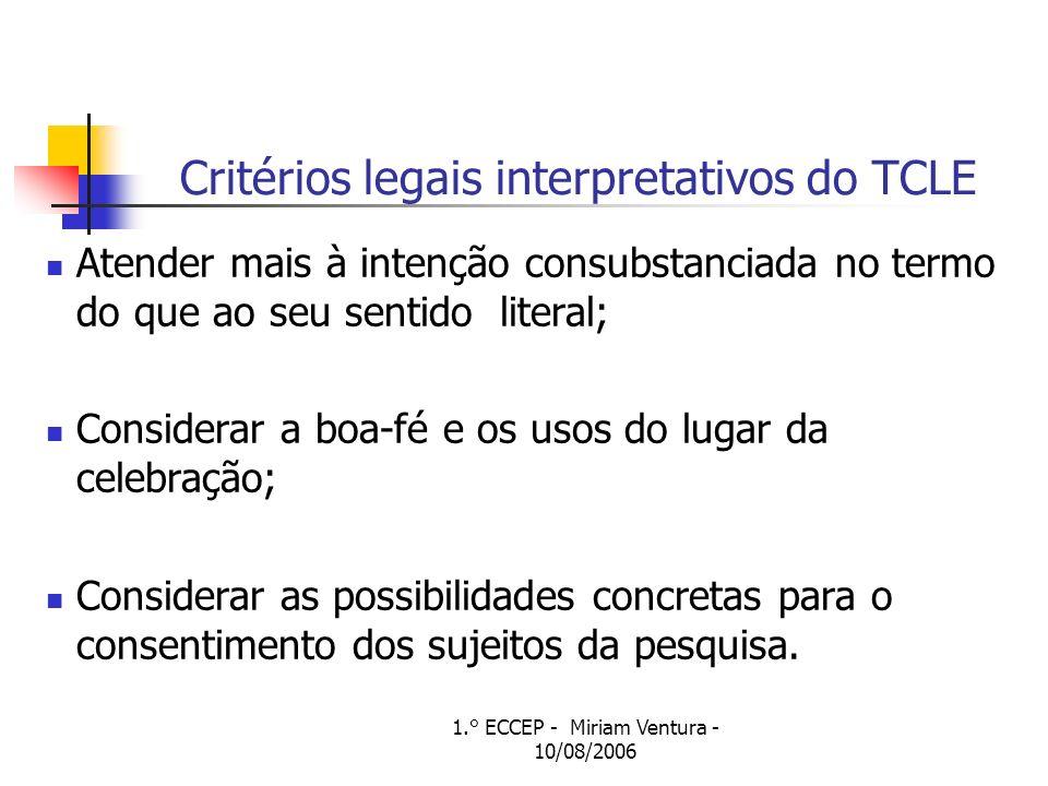 Critérios legais interpretativos do TCLE