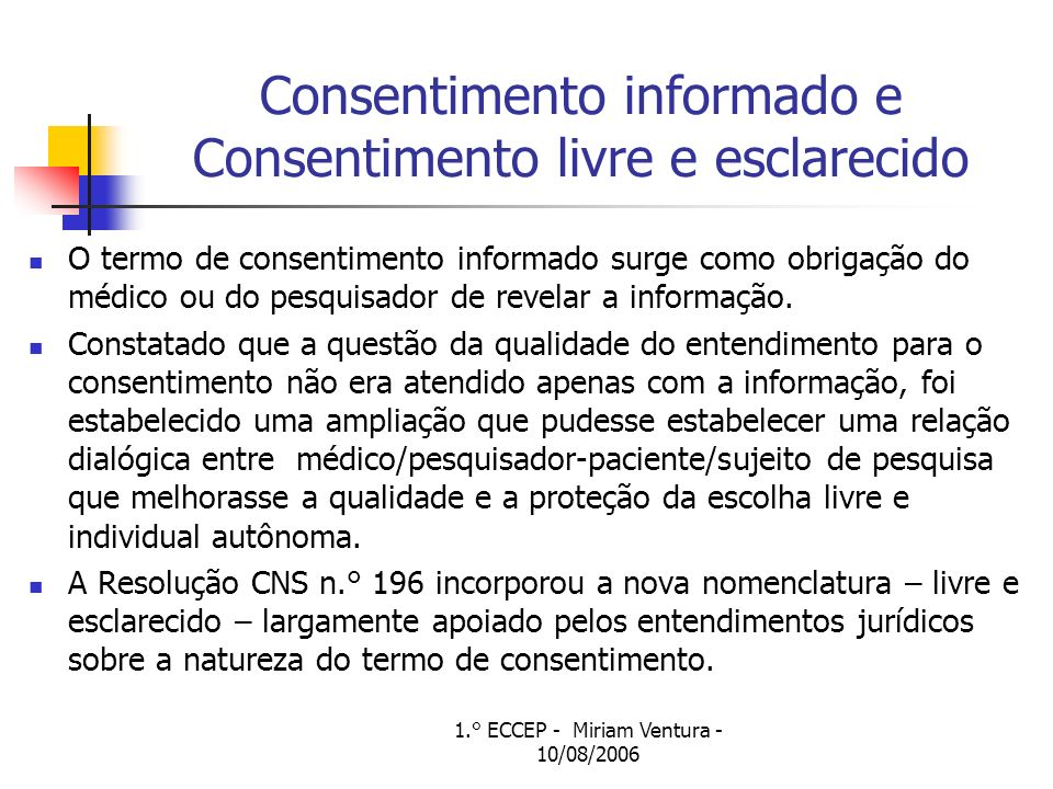Consentimento informado e Consentimento livre e esclarecido