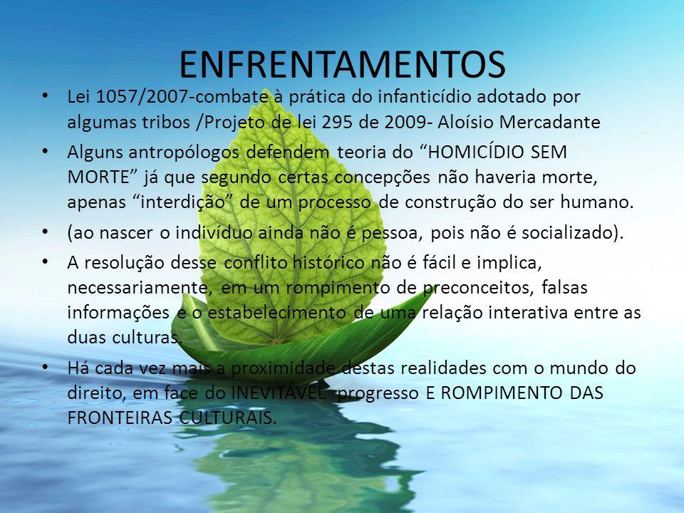 ENFRENTAMENTOS Lei 1057/2007-combate à prática do infanticídio adotado por algumas tribos /Projeto de lei 295 de 2009- Aloísio Mercadante.