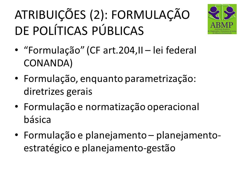 ATRIBUIÇÕES (2): FORMULAÇÃO DE POLÍTICAS PÚBLICAS