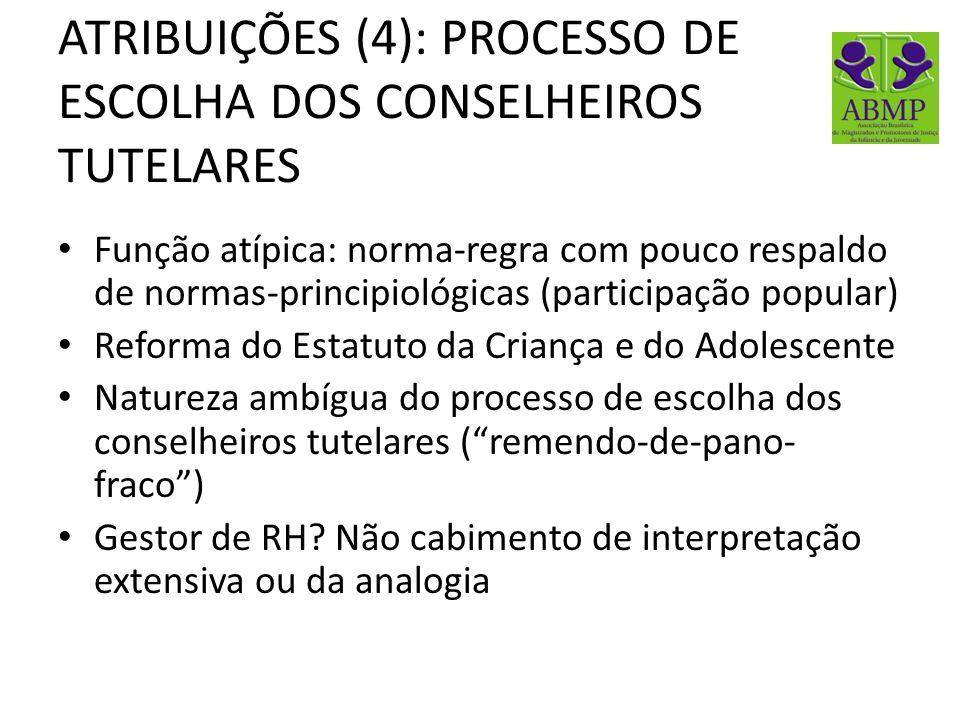 ATRIBUIÇÕES (4): PROCESSO DE ESCOLHA DOS CONSELHEIROS TUTELARES