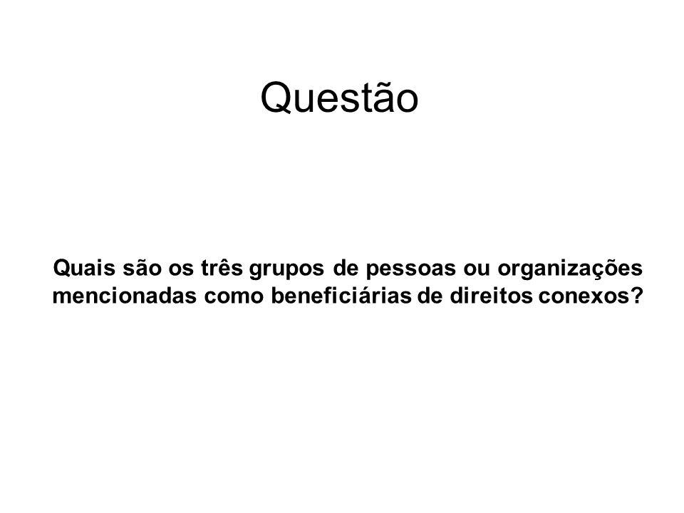 Questão Quais são os três grupos de pessoas ou organizações mencionadas como beneficiárias de direitos conexos