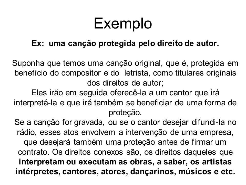 Ex: uma canção protegida pelo direito de autor.