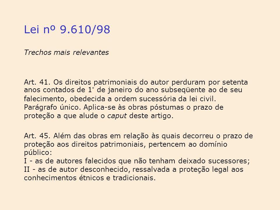 Lei nº 9.610/98 Trechos mais relevantes