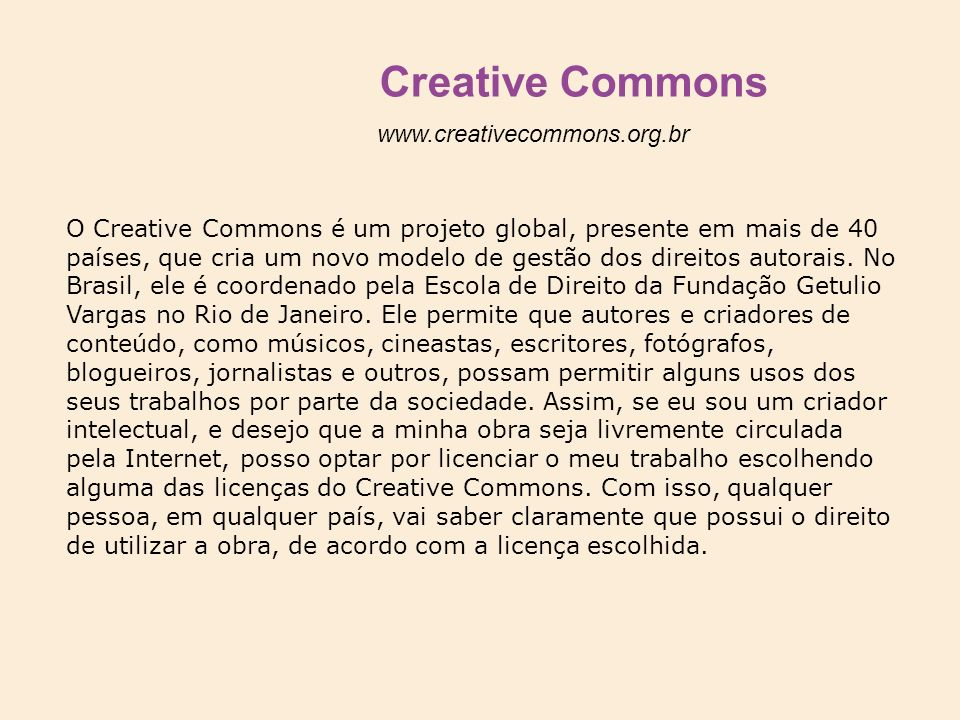 Creative Commons www.creativecommons.org.br
