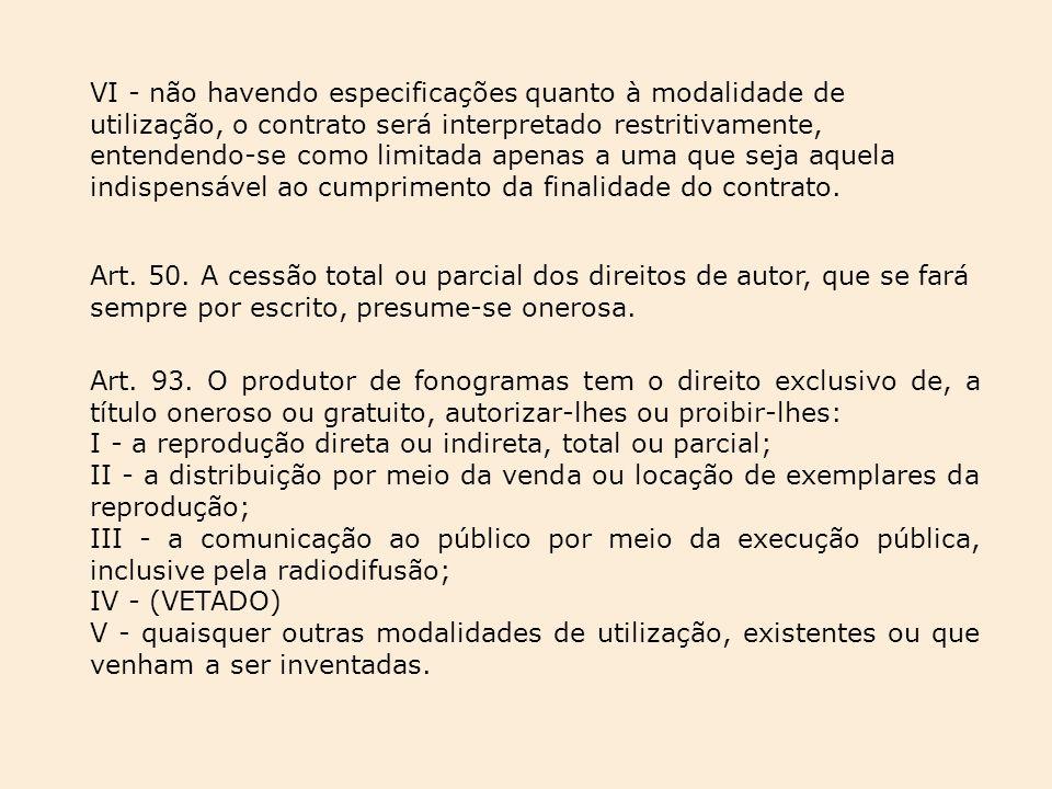 VI - não havendo especificações quanto à modalidade de utilização, o contrato será interpretado restritivamente, entendendo-se como limitada apenas a uma que seja aquela indispensável ao cumprimento da finalidade do contrato.