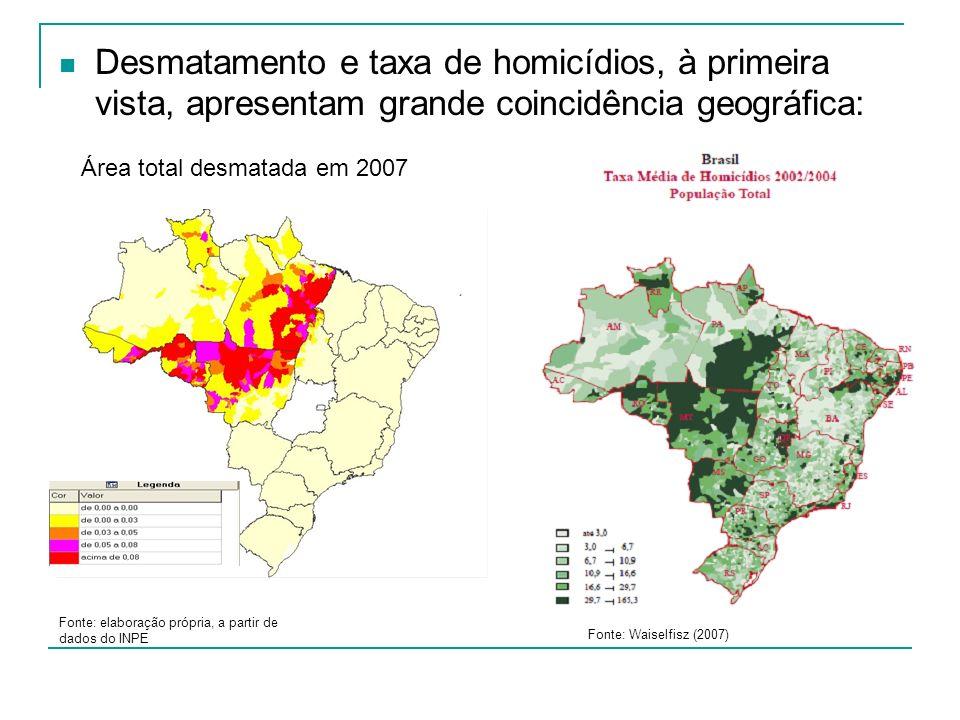 Desmatamento e taxa de homicídios, à primeira vista, apresentam grande coincidência geográfica: