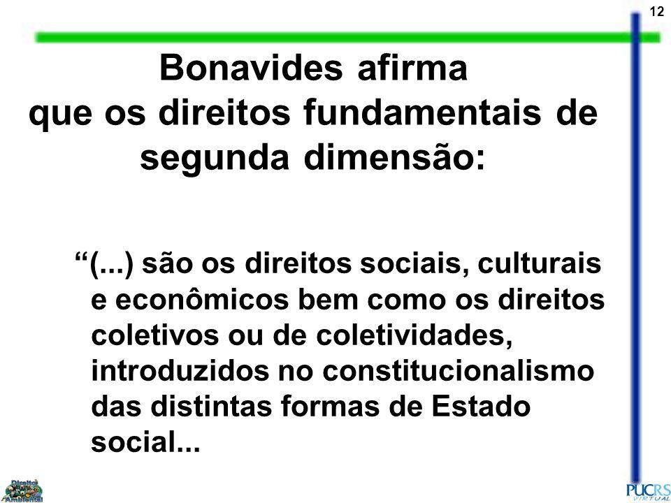 que os direitos fundamentais de segunda dimensão: