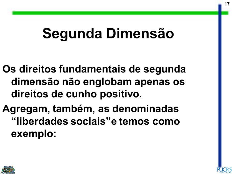 Segunda Dimensão Os direitos fundamentais de segunda dimensão não englobam apenas os direitos de cunho positivo.