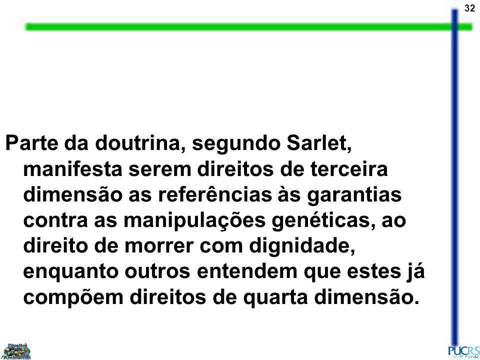 Parte da doutrina, segundo Sarlet, manifesta serem direitos de terceira dimensão as referências às garantias contra as manipulações genéticas, ao direito de morrer com dignidade, enquanto outros entendem que estes já compõem direitos de quarta dimensão.