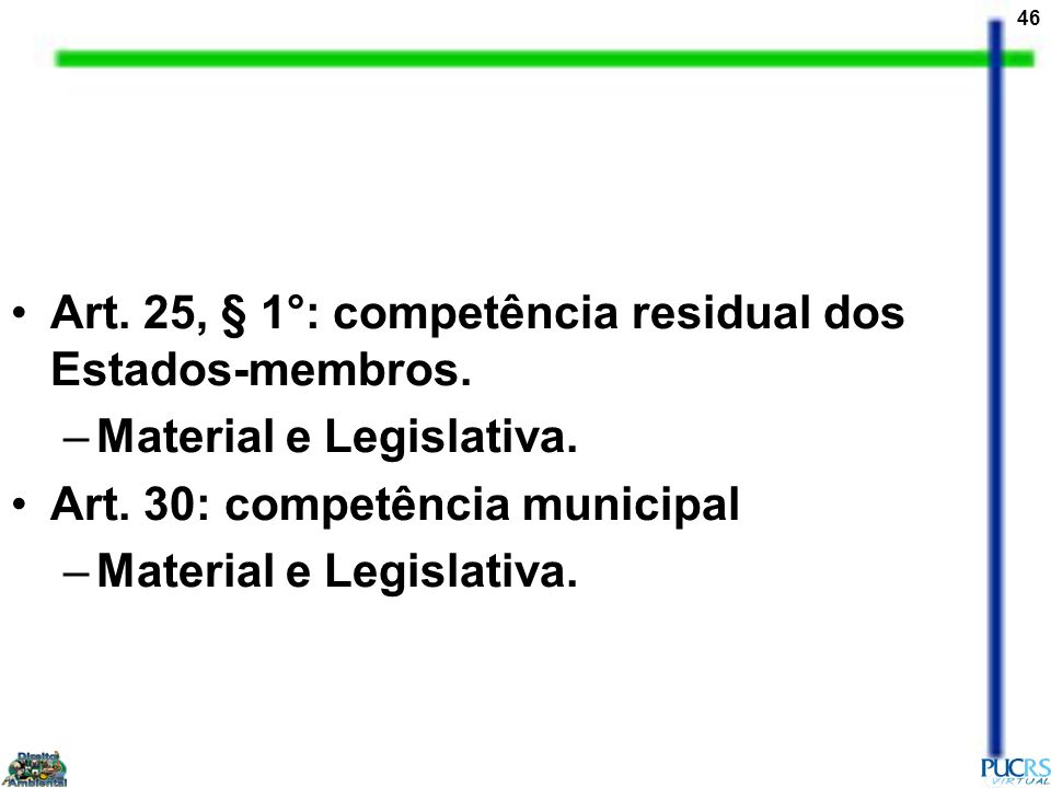 Art. 25, § 1°: competência residual dos Estados-membros.